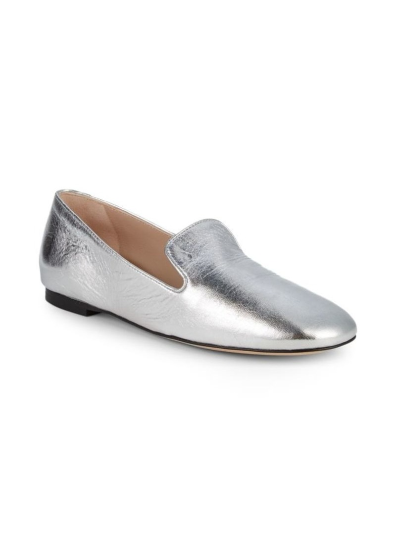 Stuart Weitzman Myguy Metallic Leather Venetian Loafers