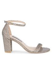 Stuart Weitzman Nearly Nude Metallic Glitter Block-Heel Sandals