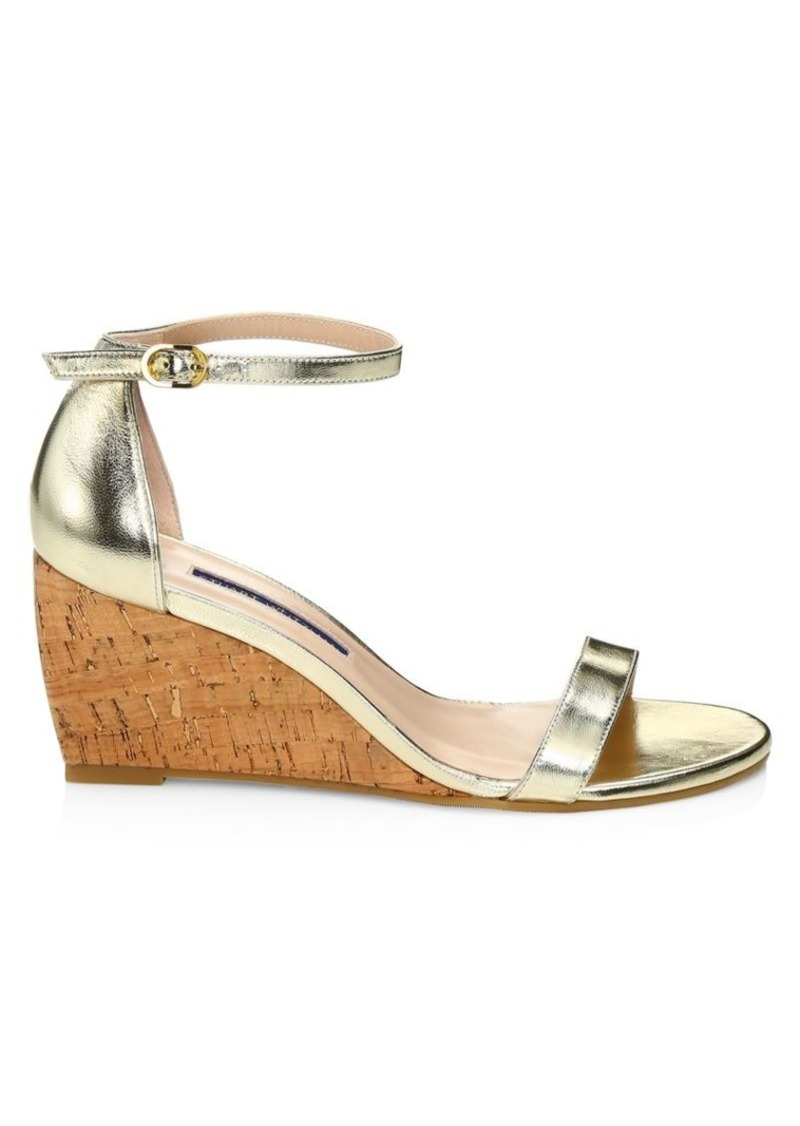 Stuart Weitzman Nearlynude Metallic Leather & Cork Wedges