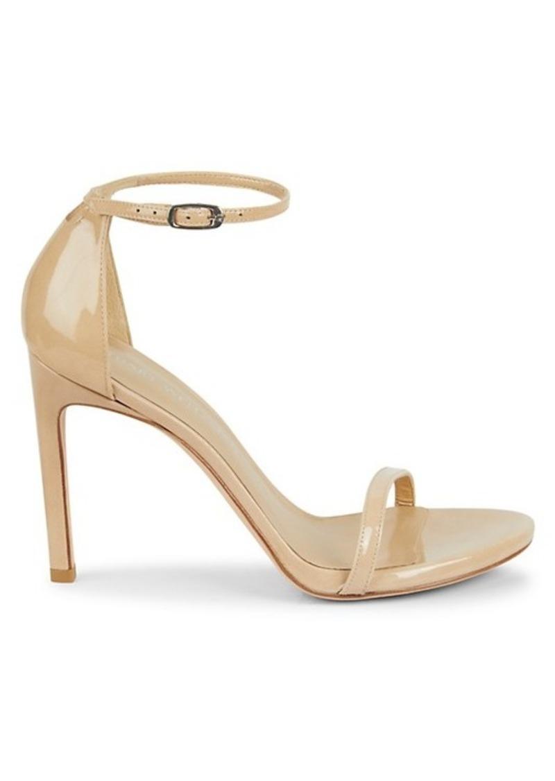 Stuart Weitzman Nudistsong Ankle-Strap Metallic Leather Sandals