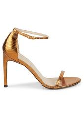 Stuart Weitzman Nudistsong Metallic Leather Ankle-Strap Sandals