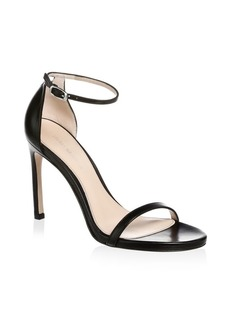 Stuart Weitzman Nudistsong Ankle-Strap Leather Sandal