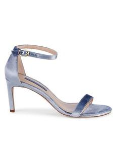 Stuart Weitzman Nunaked Velvet Ankle-Strap Sandals