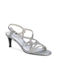 Stuart Weitzman On My Way Glittered Kitten Heel Sandals