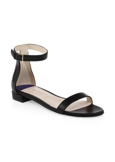 Stuart Weitzman Open Toe Leather Ankle-Strap Sandals