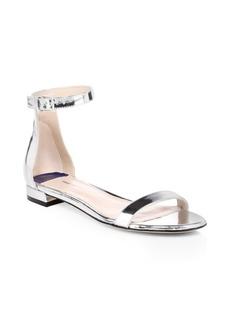 Stuart Weitzman Open Toe Leather Ankle-Strap Sandals