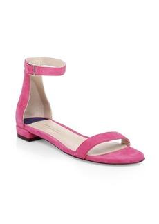 Stuart Weitzman Open Toe Suede Ankle-Strap Sandals