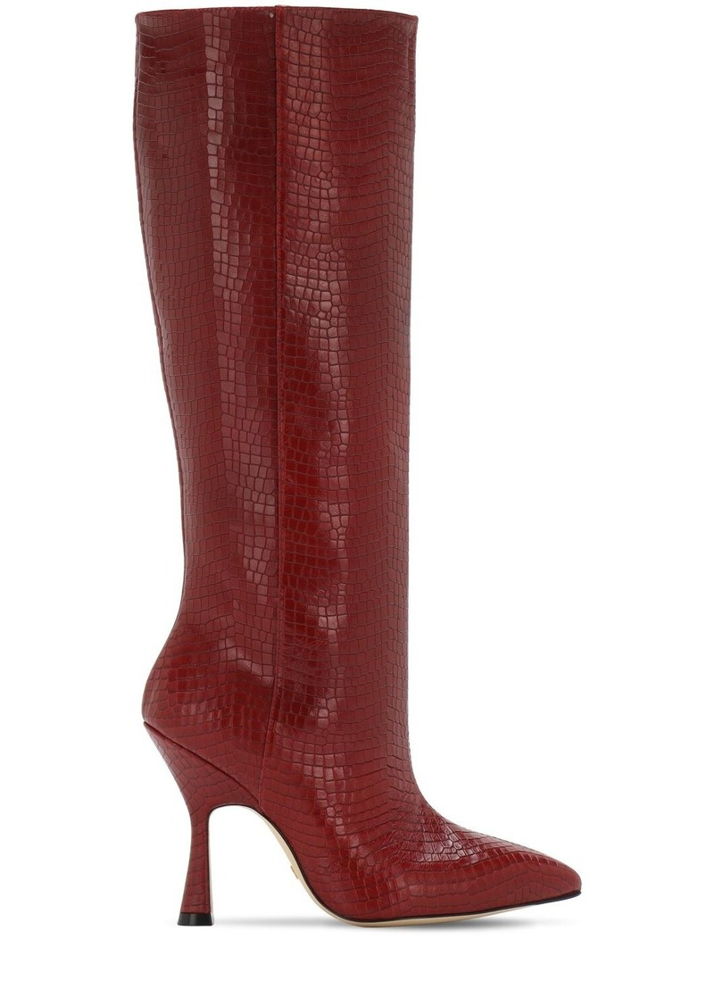 Stuart Weitzman 95mm Parton Croc Embossed Leather Boots