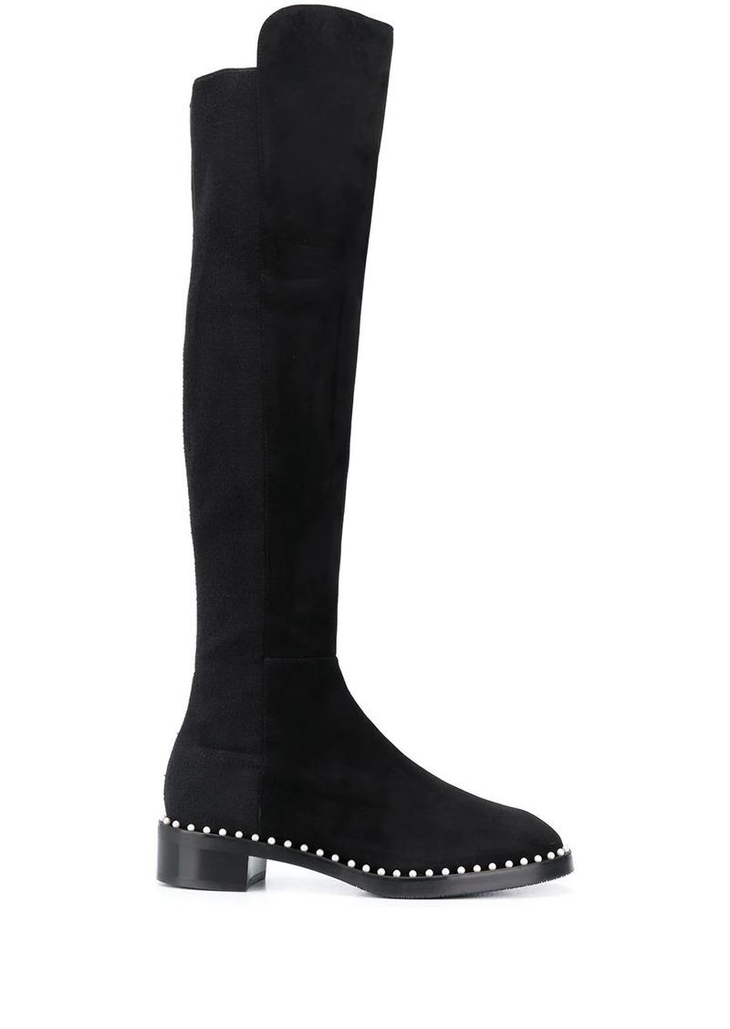 Stuart Weitzman pearl embellished over-the-knee boots