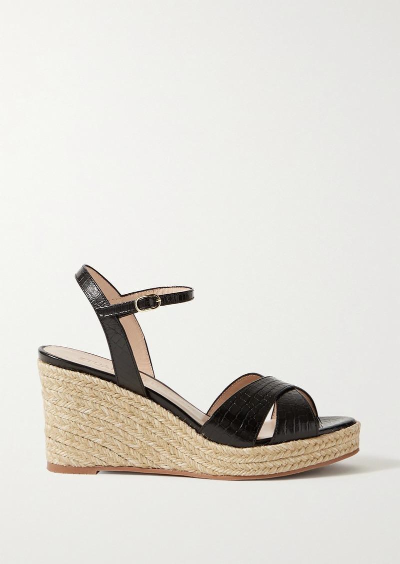 Stuart Weitzman Rosemarie Croc-effect Leather Espadrille Wedge Sandals