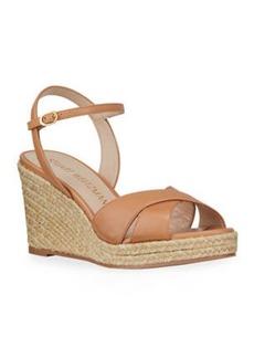 Stuart Weitzman Rosemarie Patent Wedge Espadrille Sandals