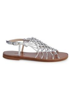 Stuart Weitzman Seaside Metallic Leather Gladiator Sandals