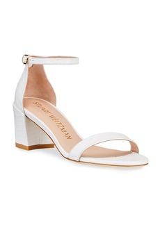 Stuart Weitzman Simple Croco Ankle-Strap Sandals