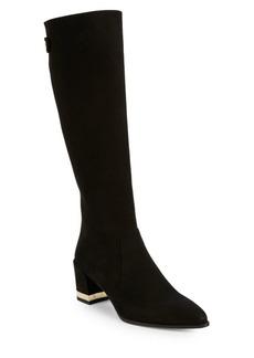 Stuart Weitzman Snap Suede Block Heel Tall Boots