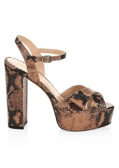 Stuart Weitzman Soliesse Snake-Embossed Leather Platform Sandals