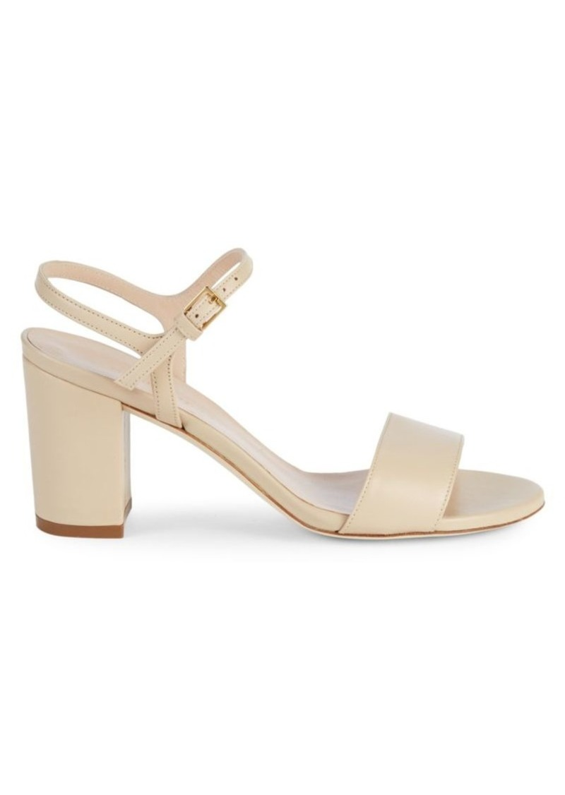 Stuart Weitzman Solo Leather Block Heel Sandals