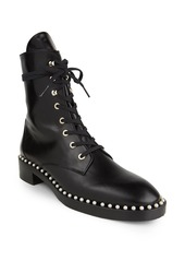 Stuart Weitzman Sondra Faux Pearl-Embellished Leather Combat Boots