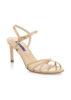 Stuart Weitzman Starla Mid-Heel Leather Sandals