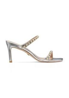 Stuart Weitzman Aleena 75 Pearls Sandals, Silver Metallic Leather, Size: 6 Medium