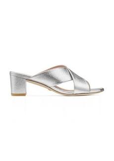 Stuart Weitzman Aletha 50 Sandals, Silver Metallic Leather, Size: 8 Wide