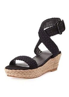 Stuart Weitzman Alexlo Crochet Wedge Sandal