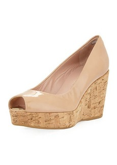 Stuart Weitzman Anna Cork-Wedge Peep-Toe Pump
