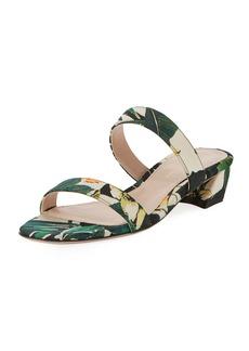 Stuart Weitzman Ava Botanic Jacquard Low-Heel Slide Sandal