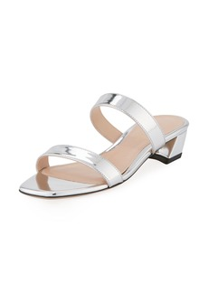 Stuart Weitzman Ava Low-Heel Metallic Leather Slide Sandal