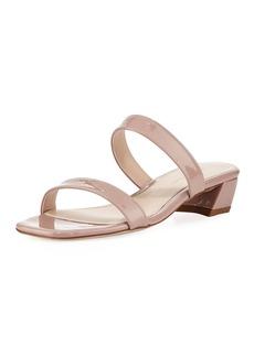 Stuart Weitzman Ava Patent Low-Heel Slide Sandal