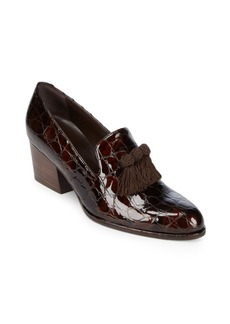 Stuart Weitzman Block-Heel Leather Loafers