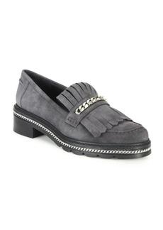 Stuart Weitzman Bmoc Chain & Suede Kilt Loafers