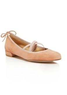Stuart Weitzman Bolshoi Suede Crisscross Ballet Flats