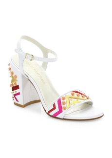 Stuart Weitzman Both Studded Embroidered Leather Block-Heel Sandals
