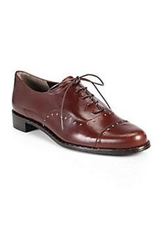 Stuart Weitzman Boystown Studded Leather Lace-Up Oxfords