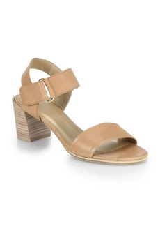 Stuart Weitzman Broadband Stacked-Heel Leather Sandals