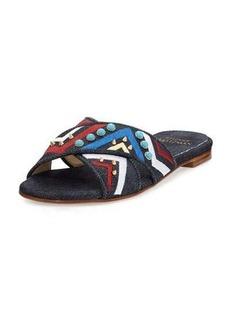 Stuart Weitzman Buttoncandy Embroidered Denim Sandal