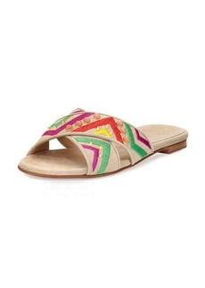 Stuart Weitzman Buttoncandy Embroidered Suede Sandal