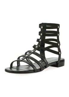 Stuart Weitzman Caesar Studded Gladiator Flat Sandal