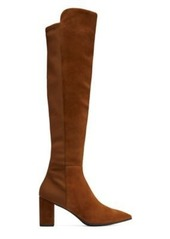 Stuart Weitzman Carly Over-The-Knee Boots, Coffee Brown Suede, Size: 7.5 Extra Wide
