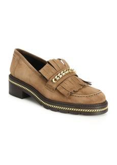 Stuart Weitzman Chain & Suede Kilt Loafers