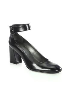 Stuart Weitzman Clara Mona Leather Ankle-Strap Block Heel Pumps