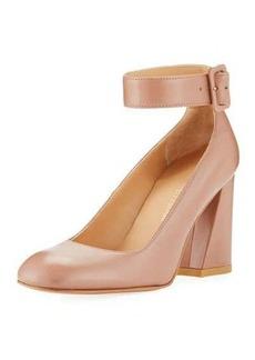 Stuart Weitzman Clarisa Block-Heel Napa Ankle-Strap Pump