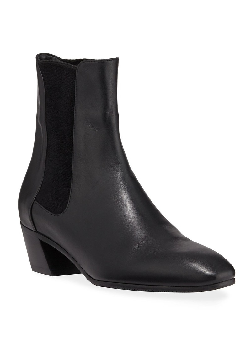 Stuart Weitzman Cleora Block-Heel Leather Chelsea Booties