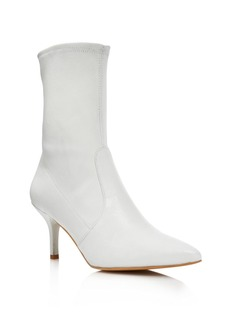 Stuart Weitzman Cling Leather Stretch Sock Booties