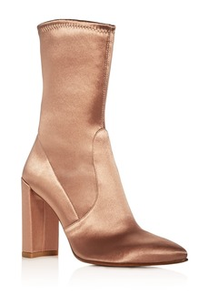 Stuart Weitzman Clinger Stretch Satin Pointed Toe Boots