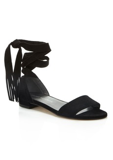Stuart Weitzman Corbata Fringe Lace Up Sandals
