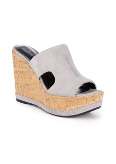 Stuart Weitzman Cut-Out Leather Wedge Sandals