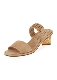 Stuart Weitzman Dana Suede Ornate-Heel Mule Sandal