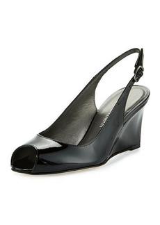 Stuart Weitzman Decoslinky Patent Slingback Wedge Sandal
