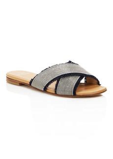 Stuart Weitzman Edgeway Denim and Chain Trim Slide Sandals